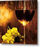 Glass Of Wine And Green Grapes By Candlelight Metal Print