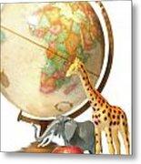 Globe With Toys Animals On White Metal Print