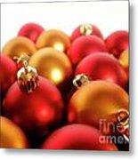 Gold And Red Xmas Balls Metal Print