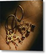 Gold Earrings Hung With Pearls Are Part Metal Print