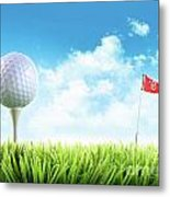 Golf Ball With Tee In The Grass  Metal Print