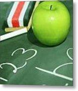Green Apple For School Metal Print by Sandra Cunningham