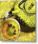 Green Asian Teapot With Cup  Metal Print