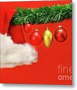 Green Garland With Santa Hat And Ornaments Metal Print