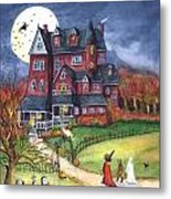 Halloween Haunted Mansion Metal Print by Iva Wilcox