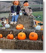 Halloween Pumpkin Patch 7d8476 Metal Print by Wingsdomain Art and Photography