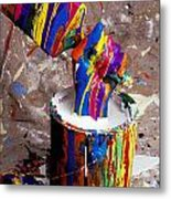 Hand Coming Out Of Paint Bucket Metal Print by Garry Gay