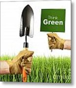 Hands Holding Garden Trowel And Sign Metal Print
