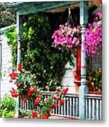 Hanging Baskets And Climbing Roses Metal Print