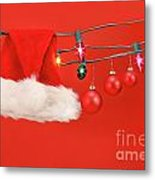 Hanging Lights With Santa Hat Metal Print