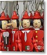 Hanging Pinocchios Puppets Metal Print