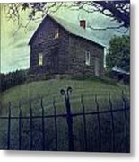 Haunted House On A Hill With Grunge Look Metal Print by Sandra Cunningham