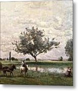 Haycart Beside A River  Metal Print
