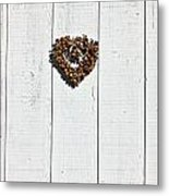 Heart Wreath On Wood Wall Metal Print by Garry Gay