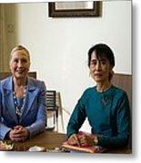 Hillary Clinton Visited Daw Aung San Metal Print