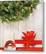 Holiday Wreath With Snow Globe  Metal Print by Sandra Cunningham
