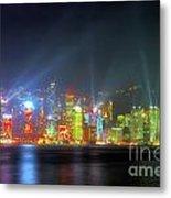 Hong Kong Night Lights Metal Print