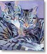 Hugs Purrs And Stripes Metal Print by Kimberly Santini