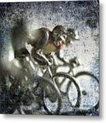 Illustration Of Cyclists Metal Print