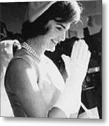 Jacqueline Kennedy Visiting A Childrens Metal Print by Everett