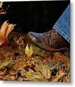 Kicking Fallen Autumn Leaves Metal Print by Oleksiy Maksymenko