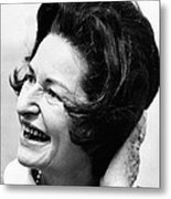 Lady Bird Johnson Smiles As The Wind Metal Print by Everett