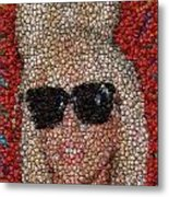 Lady Ga Ga Bottle Cap Mosaic Metal Print by Paul Van Scott