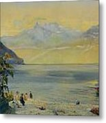 Lake Leman With The Dents Du Midi In The Distance Metal Print by John William Inchbold