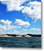 Lake Michigan Shore With Clouds Metal Print by Michelle Calkins