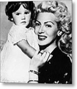 Lana Turner Right, And Daughter Cheryl Metal Print