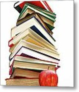 Large Pile Of Books Isolated On White Metal Print