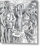 Les Demoiselles V1 Metal Print by Susan Cafarelli Burke