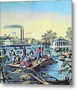 Life On The Mississippi, 1868 Metal Print by Photo Researchers