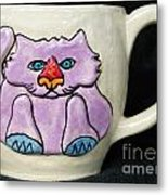 Lightning Nose Kitty Mug Metal Print