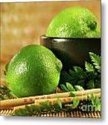 Limes With Chopsticks Metal Print by Sandra Cunningham