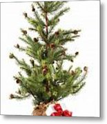 Little Christmas Tree With Red Ribboned Gifts On White  Metal Print by Sandra Cunningham