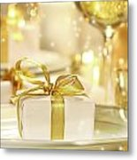 Little Gold Ribboned Gift Metal Print by Sandra Cunningham