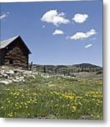 Log Cabin On The High Country Ranch Metal Print