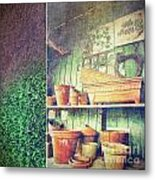 Lots Of Different Size Pots In The Shed Metal Print