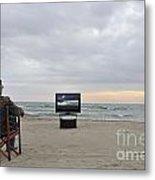 Man Watching Tv On Beach At Sunset Metal Print
