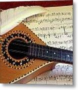 Mandolin And Partiture Metal Print