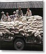 Men Sit On Bags Of Flour Metal Print by Justin Guariglia