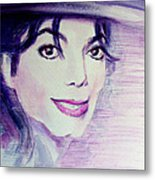 Michael Jackson - Purple Fedora Metal Print