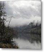 Misty River Drive Along The Umpqua Metal Print