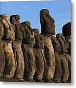 Moai Along The Coast Of Easter Island Metal Print