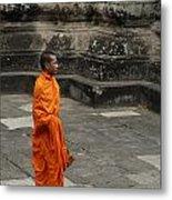 Monk At Ankor Wat Metal Print