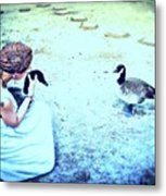 Mother And Geese Metal Print