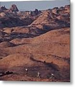 Mountain Bike Riders On Slickrock Trail Metal Print by Joel Sartore