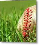 Old Baseball Glove On The Grass Metal Print