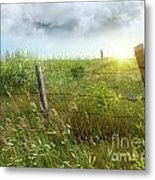 Old Country Fence On The Prairies Metal Print by Sandra Cunningham